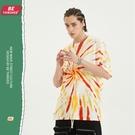 潮流時尚高街原創T恤 男生小眾設計T恤 2021夏季歐美寬鬆短袖T恤 手工炫彩紮染嘻哈體恤T恤