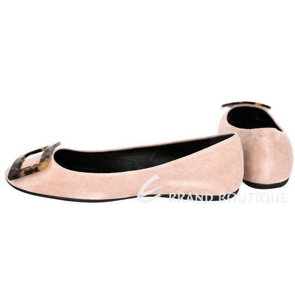 Roger Vivier Gommette 經典瑁玳釦麂皮娃娃鞋(裸膚色) 1320470-32
