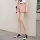 牛仔短褲 牛仔短褲女2021新款夏季泫雅高腰寬鬆闊腿顯瘦粉色a字外穿熱褲潮 嬡孕哺