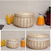 圓形 藤編收納筐 柳編雜物籃 桌面帶蓋 水果籃 雞蛋籃 饅頭筐