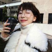 現貨-韓國ulzzang原宿復古眼鏡框新款時尚網紅同款大框平光眼鏡女近視圓框金邊復古眼鏡框127