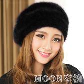 帽子女冬季 兔毛貝雷帽子女 時尚韓版編織毛線帽保曖加厚畫家帽子     MOON衣櫥