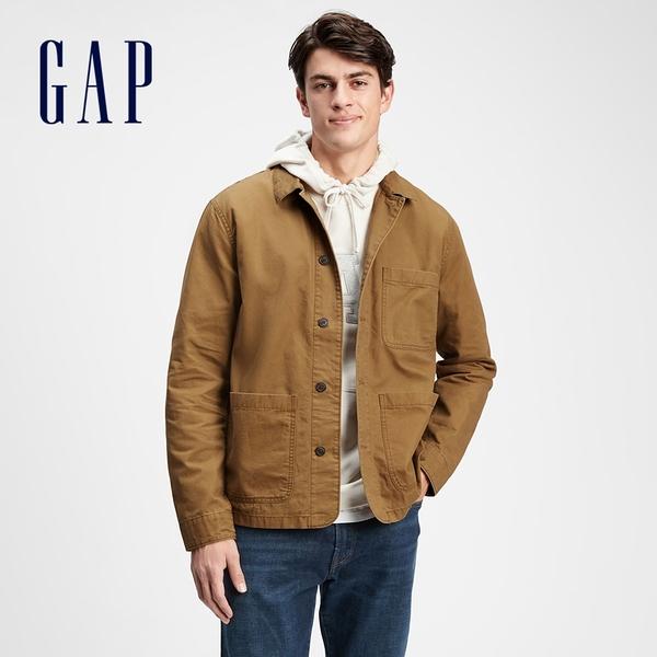 Gap男裝 工裝風翻領長袖外套 769887-棕色