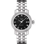 TISSOT 天梭 Bridgeport 寶環系列經典羅馬機械女錶-黑/29mm T0970071105300