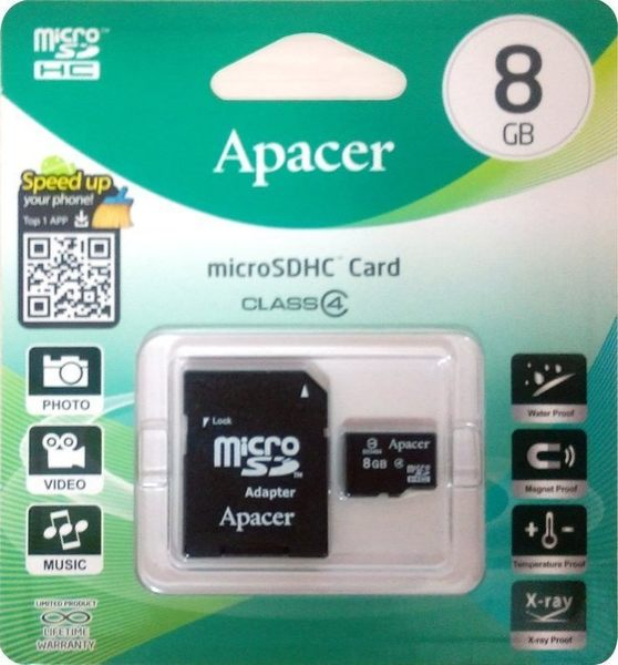【鼎立資訊】宇瞻 Apacer  8G SDHC C4 記憶卡SD 8G 8GB 附轉卡 手機/相機/MP3/行車紀錄器/GPS可用
