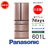 Panasonic 國際牌 NR-F604VT 六門 鋼板系列冰箱 玫瑰金/香檳金 601L 日本製 公司貨