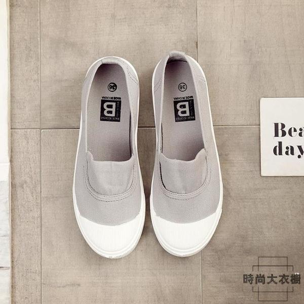 帆布鞋女小白鞋百搭平底學生韓版夏淺口單鞋休閒鞋子【時尚大衣櫥】