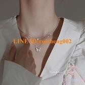 純銀飾蝴蝶項鏈女雙層疊戴輕奢小眾鎖骨鏈夏設計感【少女顏究院】