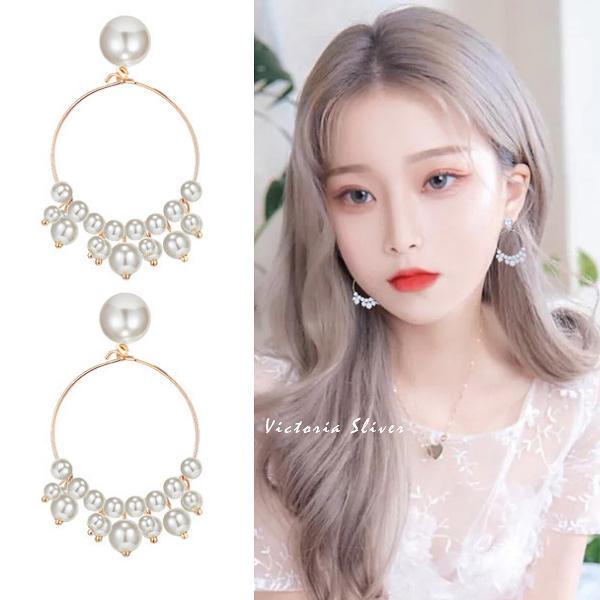 925純銀針  韓國優雅氣質  浪漫珍珠  耳環-維多利亞190405