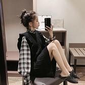 格子長袖襯衫女中長款針織毛衣背心連身裙兩件套【愛物及屋】