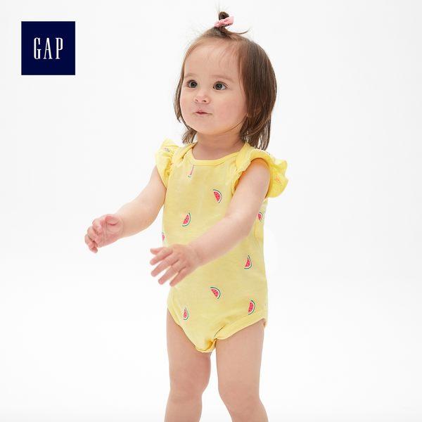 Gap女嬰兒 可愛印花小飛袖包屁衣 442423-奶酪黃色
