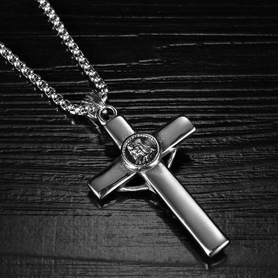 《QBOX 》FASHION 飾品【C20N1821】精緻個性歐美復古基督教耶蘇十字架鑄造鈦鋼墬子項鍊/掛飾