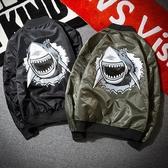 空軍夾克 MA1-立領個性鯊魚印花飛行員男軍裝外套2色73pf12【巴黎精品】