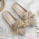 半拖鞋 小清新包頭半拖鞋夏季蝴蝶結懶人外出涼拖鞋女外穿時尚百搭平底