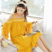睡裙女純棉性感可外穿可愛睡衣公主甜美蕾絲寬鬆薄吊帶裙   居家物語