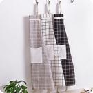 圍裙 韓版時尚家居棉麻圍裙 成人男女廚房做飯防油罩衣防污圍腰-三山一舍
