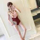 連體游泳衣女韓國性感露背顯瘦時尚比基尼小香風溫泉泳裝女士學生