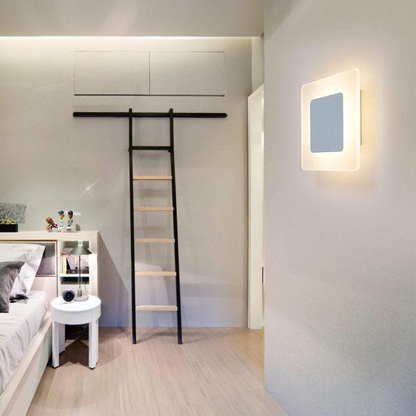 店慶優惠-現代簡約臥室床頭壁燈方形溫馨客廳陽台樓梯過道走廊LED壁燈110V可用 BLNZ