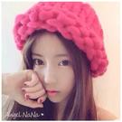 毛帽。手工粗針織 麻花 捲邊 女漁夫帽 毛線帽子(9色)(SHA0004)AngelNaNa