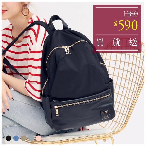 後背包-skyblue自訂異材質配色拼接後背包-共5色-A12121554-天藍小舖
