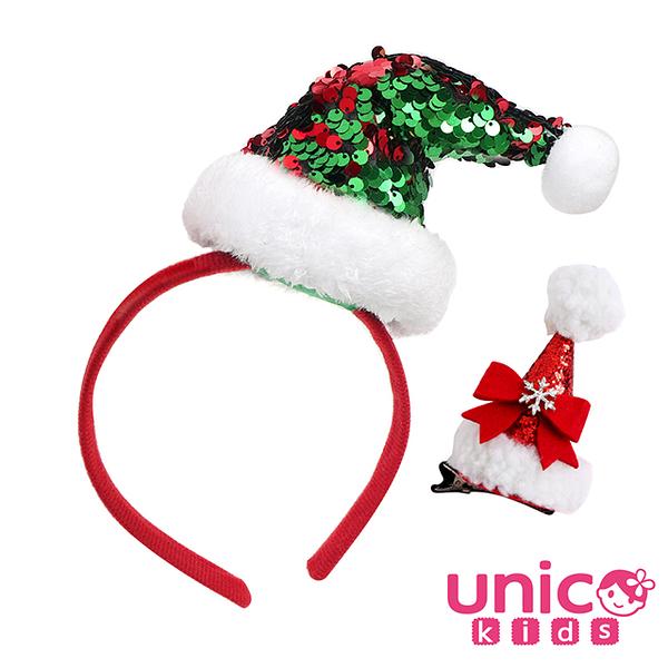 UNICO 歐美聖誕節裝飾配件髮箍+髮夾2入組-聖誕帽款