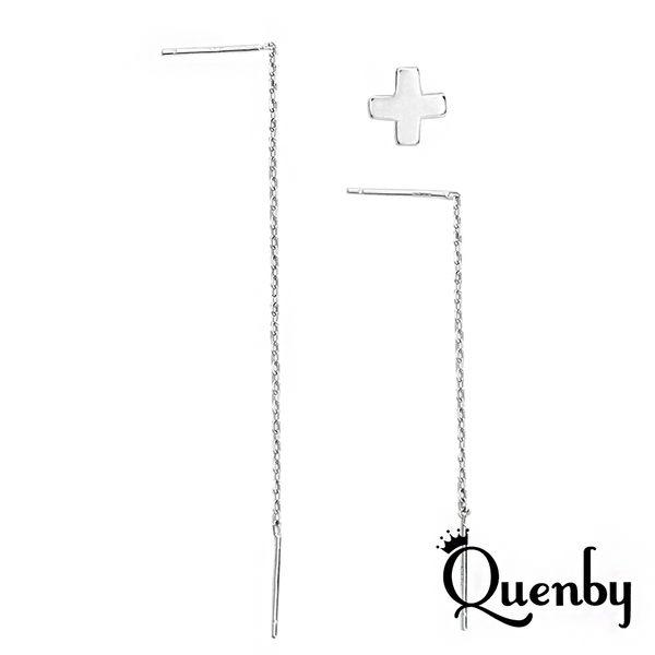 Quenby 韓劇太陽的後裔同款簡約耳線型不對稱耳環/耳針-3件組