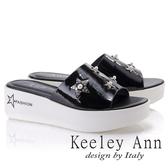★2018春夏★Keeley Ann個性玩酷~金屬星星寶石點綴厚底拖鞋(黑色) -Ann系列