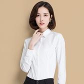 秋季中大尺碼白襯衫女長袖白領職業工作正裝暗門襟工裝打底襯衣OL女裝