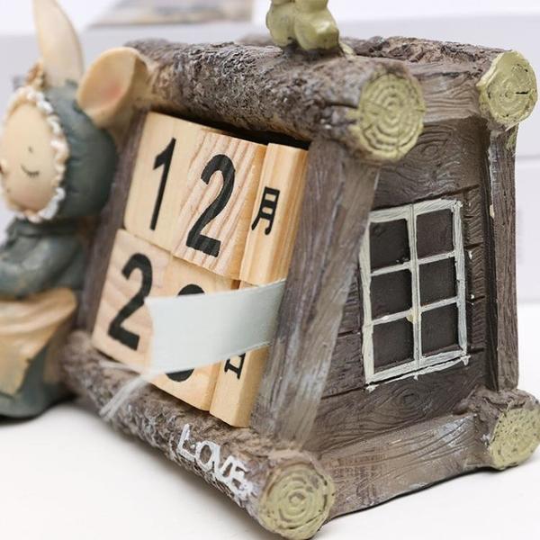 桌面擺件 復古田園可愛miss兔子樹脂日歷組擺件創意小擺設感恩節女生日禮物 中秋鉅惠