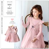 純棉 華麗歐式珍珠蕾絲澎澎紗裙小洋裝 附花朵別針 女童洋裝 公主 禮服洋裝 蕾絲洋裝 花童