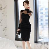 歐媛韓版 長袖洋裝 春裝新款女裝 名媛氣質修身中長款拼接透視網紗性感包臀連身裙