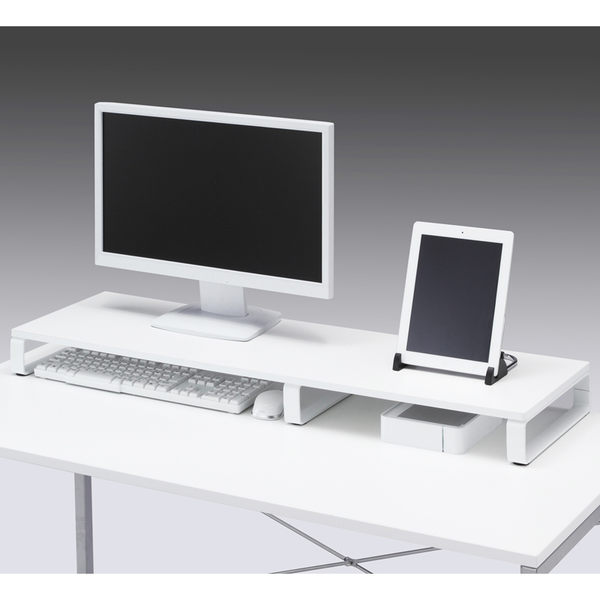 SANWA加長型螢幕、置物桌上架 深30cm 黑白2色