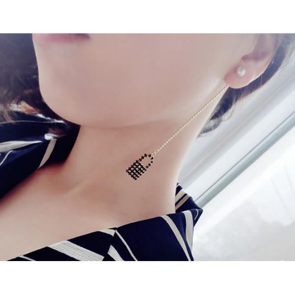 耳環 日韓系愛心鑰匙鎖頭緞帶不對稱長款垂墜式耳環【1DDE0312】
