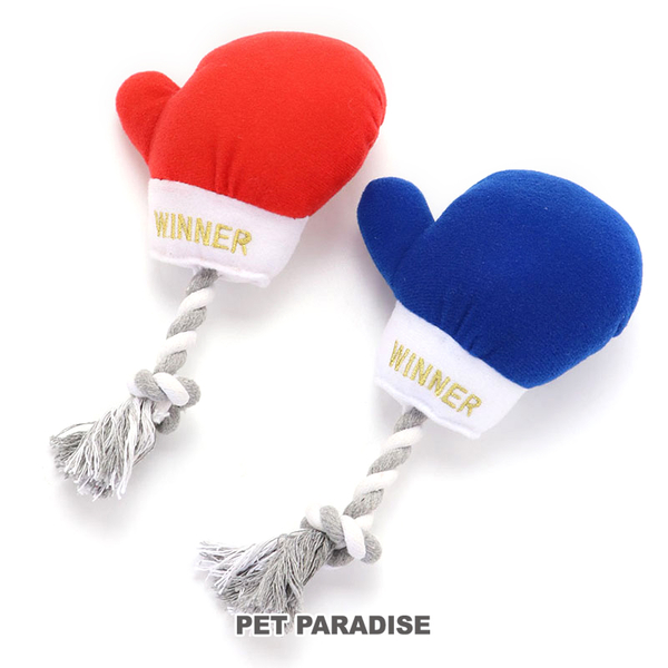 【PET PARADISE 寵物精品】Narikir 拳擊手套啾啾繩結玩具/2色《藍》 寵物玩具 運動系列