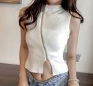 EASON SHOP(GW2736)實拍小心機純色下襬開衩前拉鍊短版露肚臍無袖針織背心女上衣服彈力貼身內搭衫