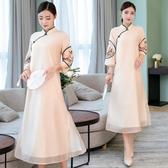改良式旗袍秋新長袖年輕少女中國風女裝端莊大氣寬鬆洋裝連身裙洋裝 超值價