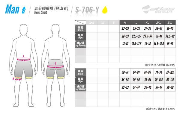 【亞特力士ATLAS】男五分車褲 24℃~30℃(五代)  S-706-Y(黃)