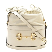 GUCCI 古馳 白色牛皮馬銜雙環連接釦抽繩肩背水桶包Horsebit 1955 Bucket Bag BRANDOFF
