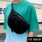 [現貨] 包包 側肩背 斜肩背 斜胯包 腰包 胸包 帆布包 中性男女 簡約輕便 戶外運動 黑色  H2036 OT SHOP