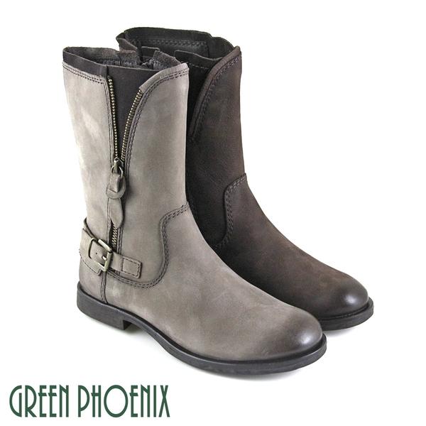 U21-28510 女款牛麂皮短筒靴  染仿舊金屬皮扣拉鍊細絨毛牛麂皮平底短筒靴【GREEN PHOENIX】