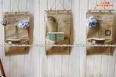雜貨zakka 風格三格麻質收納袋環保復古印章掛袋分類整理袋2 款單售