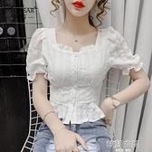2021年夏季新款時尚短袖荷葉邊上衣設計感小眾氣質方領雪紡襯衫女