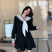 2020秋冬新款日系韓版水手海軍領黑色連衣裙女寬鬆顯瘦JK制服裙子 【端午節特惠】