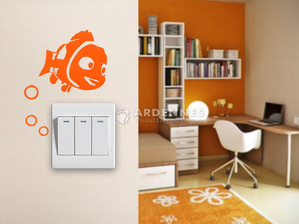 【ARDENNES】趣味開關貼/牆貼/居家佈置小物 超Q卡通貼OP002小丑魚