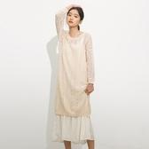 吊帶裙(兩件套)-韓版時尚長款毛衣長袖女背帶裙73rx37【巴黎精品】