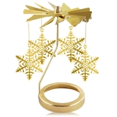 歐沛媞 歐式旋轉燭罩蠟燭台-金-雪花飄舞 加贈YANKEE CANDLE 香氛蠟燭49g