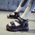 涼鞋 網紅運動涼鞋女夏季新款新款休閒增高厚底鬆糕鞋學生魔術貼羅馬鞋