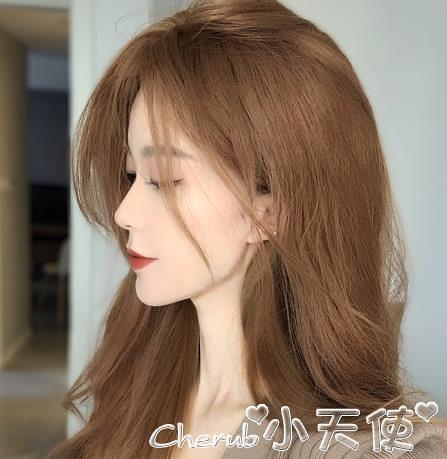 染髮劑奶茶色染髮劑膏女2021流行色自己在家染髮純黑茶淺棕色植物泡泡沫 小天使