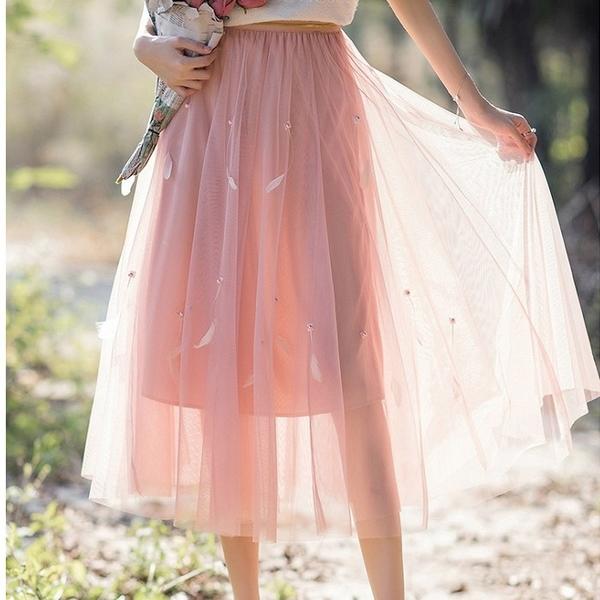 夢幻網紗珍珠接羽毛飄逸過膝裙[99161-QF]美之札