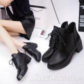短靴 新英倫風馬丁靴女短筒系帶尖頭粗跟高跟短靴女單靴  米蘭shoe